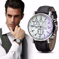 New Sale Luxury Blue Ray Black Leather Stainless Dress Fashion Men Quartz Watch