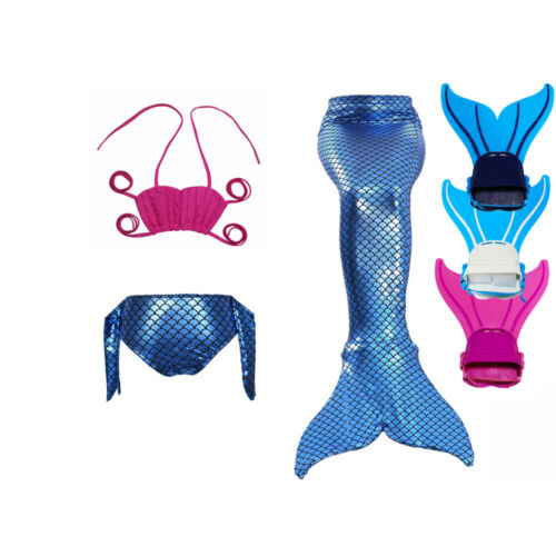 Swimmable Tail Swimming Costumes Kids Girl Fairy Mermaid Tail Monofin Flippers