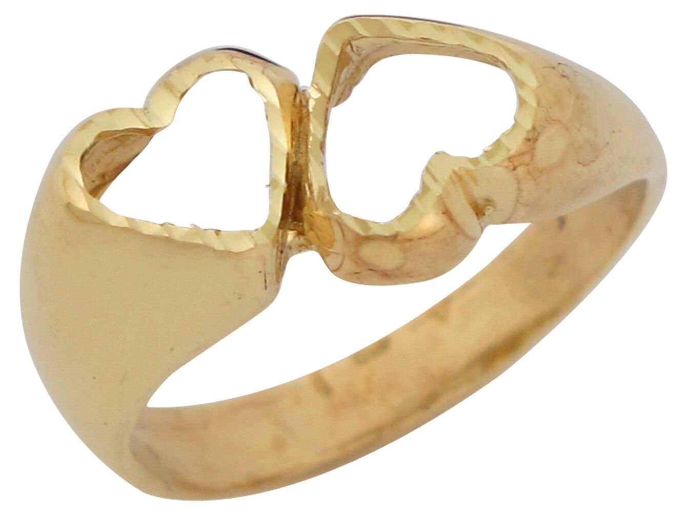10k or 14k Yellow gold High Polish Cute Trendy Two Hearts Ladies Ring Jewelry