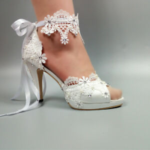 16ed3cb589c7 Ladies Lace Ankle Strap Flower Wedding Shoes Bridal Open Toe High ...