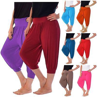Original Womens Plus Size Plain Baggy Stretchy Cropped 3/4 Ali Baba Harem Pants Trousers