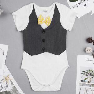Image is loading Newborn-Infant-Baby-Boys-Bowtie-Gentleman-Romper-Bodysuit- dc570c764c