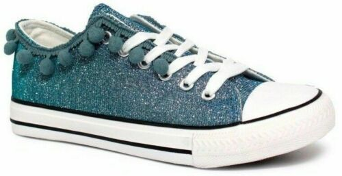 Womens ladies flat glitter sparkly Pom Pom Lace casual plimsoles trainers shoes