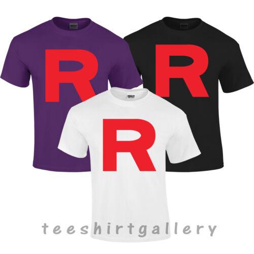 Shirt Top POKEMON TEAM ROCKET R COSPLAY RETRO TOP POKEMON CARTOON KIDS LADIES T