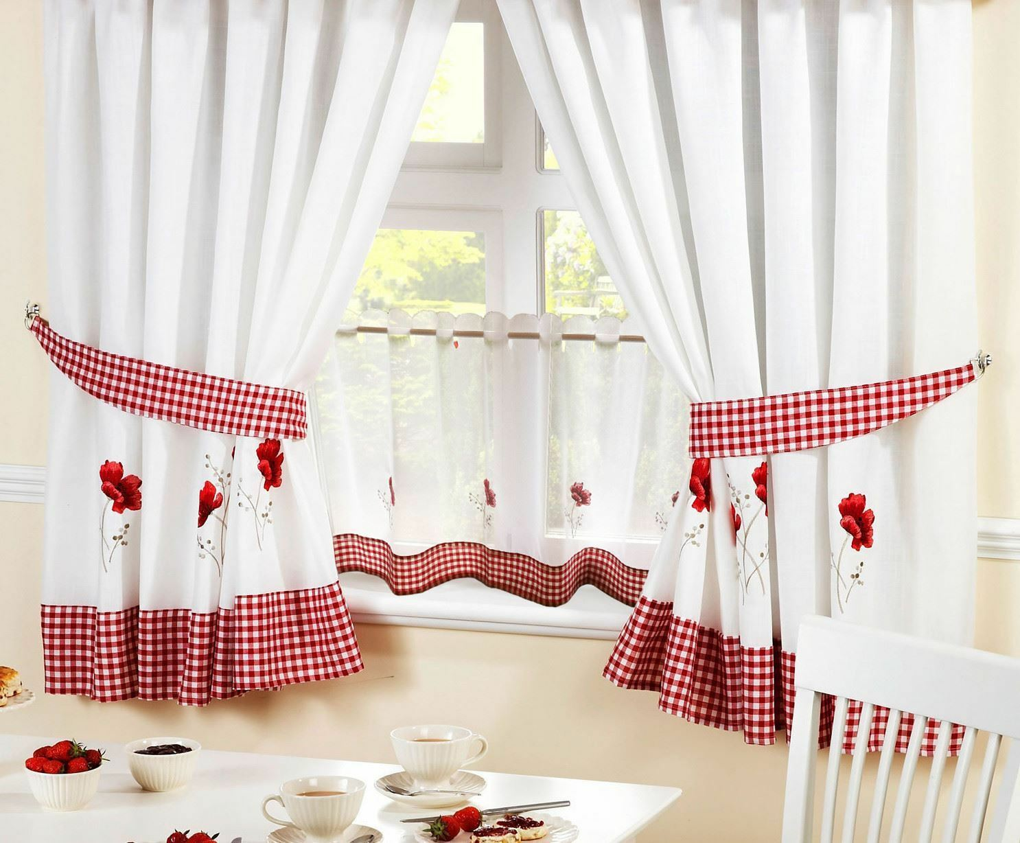 """POPPIES rot rot rot EMBROIDErot GINGHAM KITCHEN CURTAINS & 18"""" CAFE PANEL 5 GrößeS 371291"""