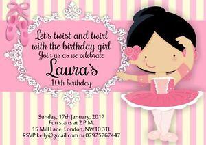 10 X Ballerina Ballet Girl Personalised Birthday Invitations Ebay