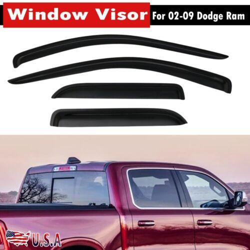 New Acrylic Window Visors Rain Guards Fits For 02-09 Dodge Ram Quad Cab 4pc US