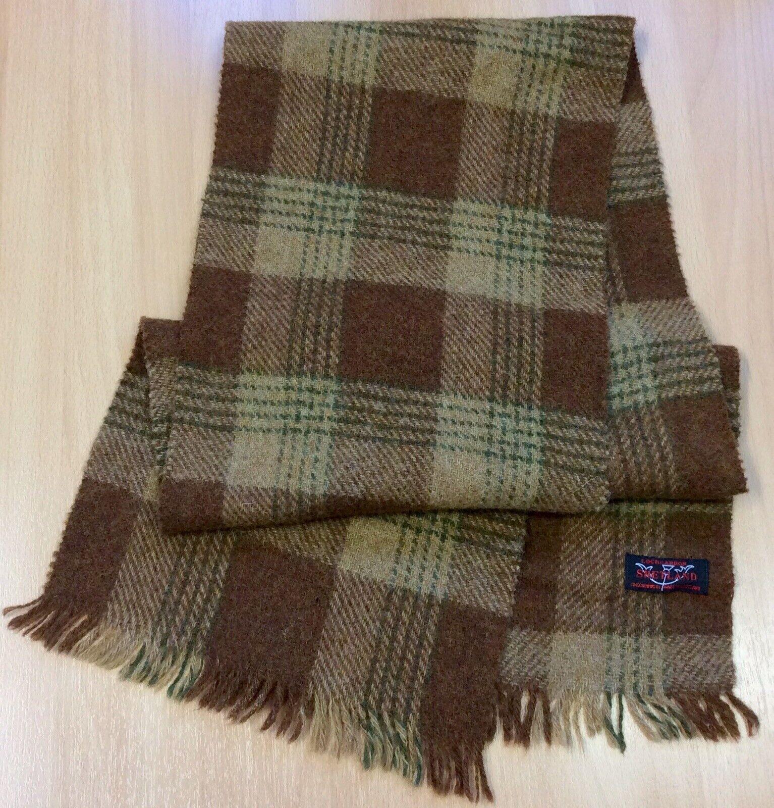 Vintage Lochcarron Brown Pure Shetland Wool Scarf