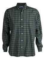 Men's Steven Alan Plaid Button Up Down Shirt Green Navy Red Designer Vtg L