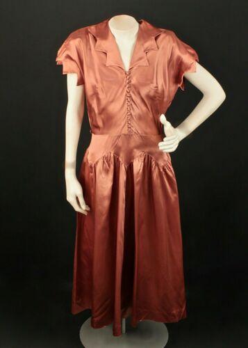 VTG Women's 40s Satin Mauve Gown Sz S 1940s Carole