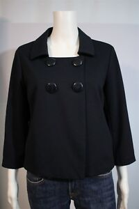 New York Co Misses MEDIUM Stretch Navy 3/4 Sleeve Fly Away Crop 2 Button Jacket