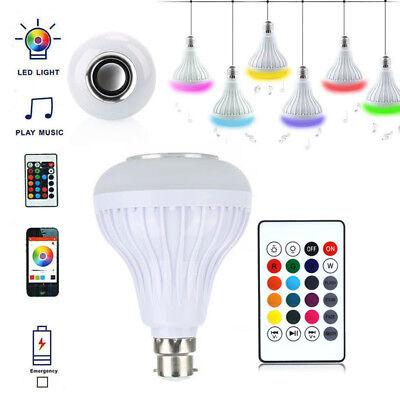 12W B22 2.4G LED RGB Wireless Bluetooth Music Play Speaker Bulb Light Lamp UK RB