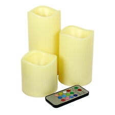 """Set of 3 Color Changing Flameless LED Candles with Remote Control 3"""" 4.5"""" 6"""""""