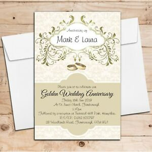 Details About 10 Personalised Golden 50th Wedding Anniversary Invitations Party Invites N13