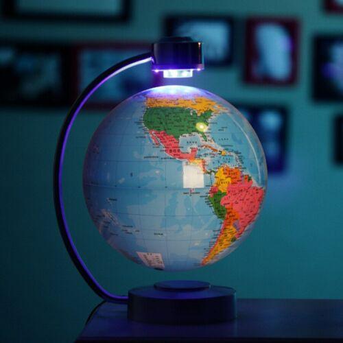 GIFT 8 Inch Blue Electronic Magnetic Levitation Floating Globe World Map LED
