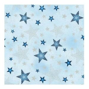 Winter-039-s-Grandeur-Fabric-Metallic-Stars-Silver-Blue-Robert-Kaufman-YARD