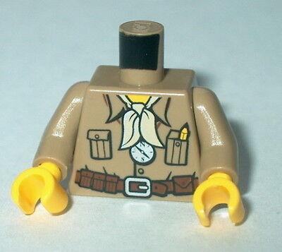 TORSO M007 Lego Male Dark Tan Safari Shirt, Bandana, Compass w/yellow hands NEW