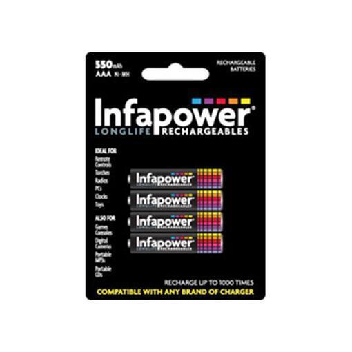 Batería Recargable Infapower B009 AAA Ni-MH 550 mAh 1000 Ciclos - Paquete De 4