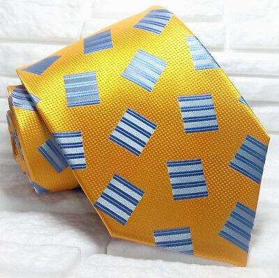 Frugale Cravatta Uomo Arancione Blue 100% Seta Made In Italy Business Informale Gamma Completa Di Articoli