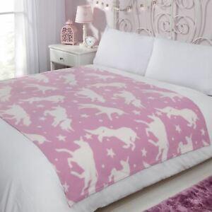Dreamscene Unicorn Fleece Throw Over Bed Warm Soft Pink Blanket, 120 x 150 cm