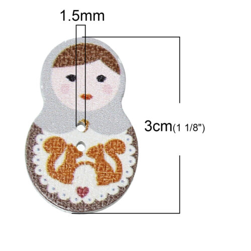 Pastel Russian Doll Design 30 x 19mm Sewing Art  Crafts Pack of 20 Wood Buttons