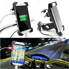 "Motorcycle Universal Cellphone Mount Holder With USB Charger For 3.5-7""Phone GPS"