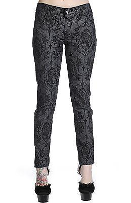 Womens Banned black grey Cross Cameo punk goth trousers S-XL Goth Rock