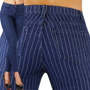 Sexy-Stretchy-Navy-Blue-Office-Jeans-Trousers-Skinny-Slim-With-Straps-N-816