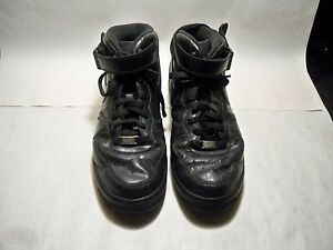 new concept 48f94 90689 Image is loading NIKE-Air-Force-1-AF1-Black-Leather-Basketball-