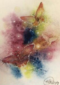 ACEO-Original-painting-Butterflies-Sunset-Butterfly-Art-Originals-From-artist