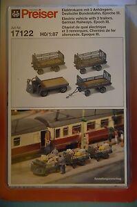 Preiser-17122-Chariots-automoteurs-avec-3-Remorques-Allemand