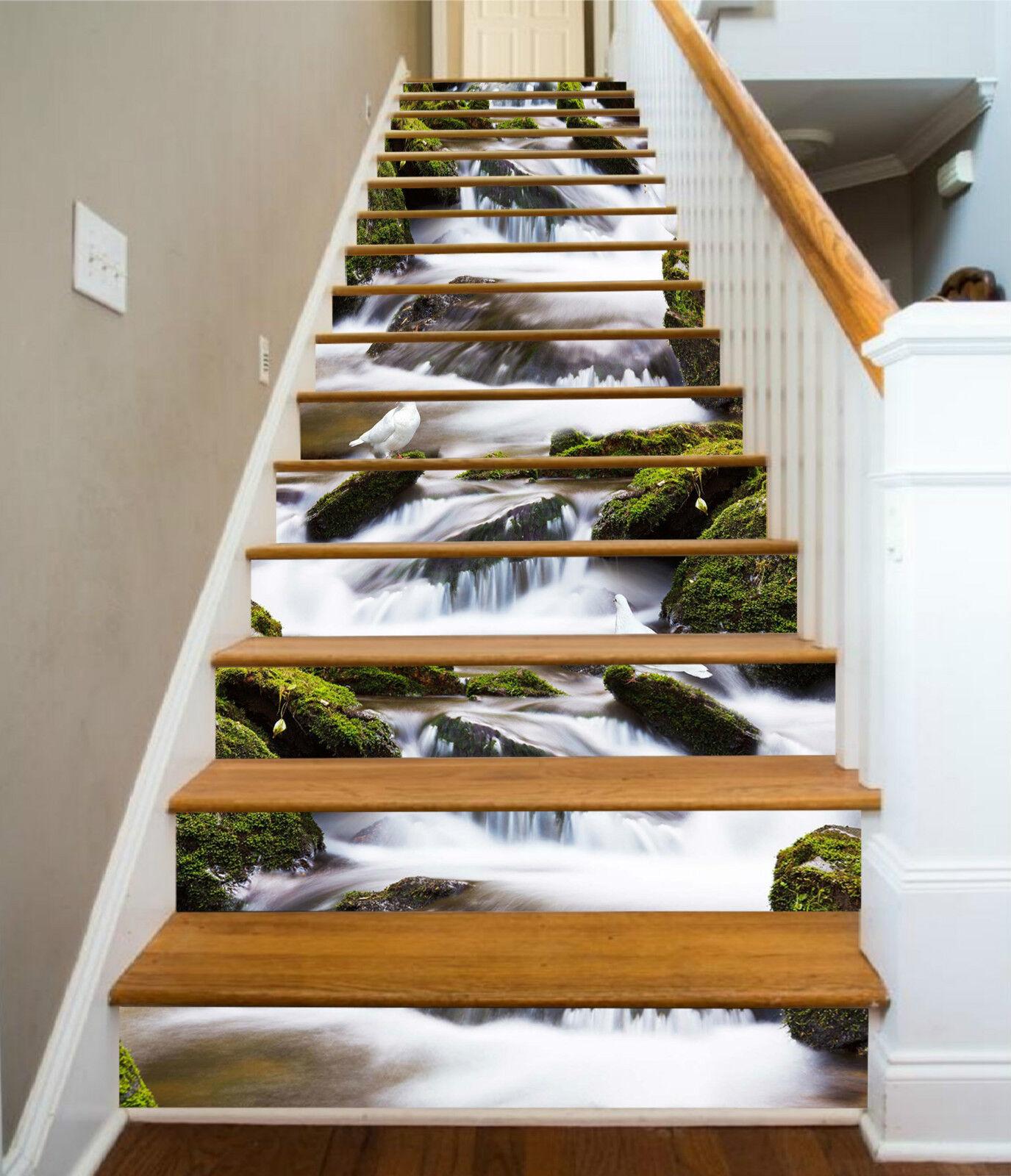 3d rivières oiseaux 254 Stair Risers Décoration Papier Peint Vinyle Autocollant Papier Peint De