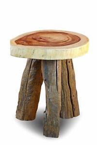 Table-Tree-Pane-Antique-Wood-Rustic-round-Diameter-13-13-16in-Teak-Natural-Edge