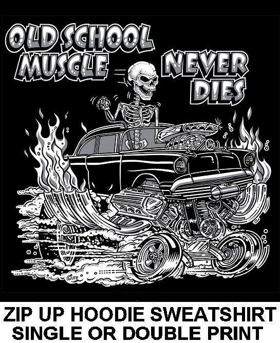 1957 OLD SCHOOL MUSCLE HOT ROD RACE BLOWER CAR SKULL ZIP HOODIE SWEATSHIRT OM10