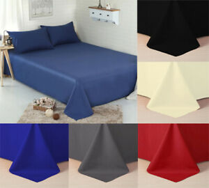 Full-Flat-Sheet-Bed-Sheets-100-Cotton-Blanded-Single-Double-King-Super-King-UK