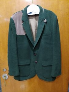Orvis-green-virgin-wool-and-seude-Hunting-Blazer-ENGLAND-Austria-size-Large