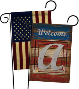 Patriotic A Initial Usa Vintage Applique Garden Flags Pack