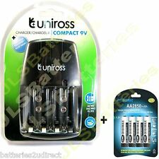 Uniross Mains Battery Charger & 4 x AA DIGIMAX 2850mAh 2850 mAh Batteries Ni-Mh