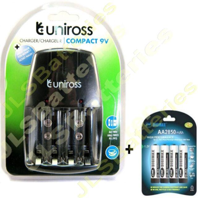 Uniross Mains Battery Charger & 4 x AA DIGIMAX 2850mAh 2850 mAh Batteries Ni-Mh