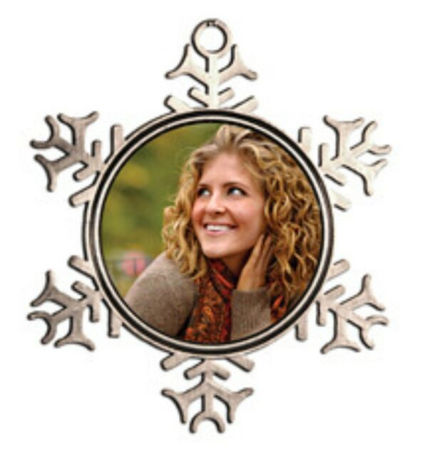 Pewter Snowflake Christmas Ornament With Sublimation Insert Ebay