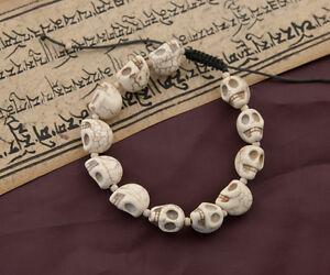 Braccialetto Mala Testa Da Teschio Bianco Crema 11 A 12 Perle 4130