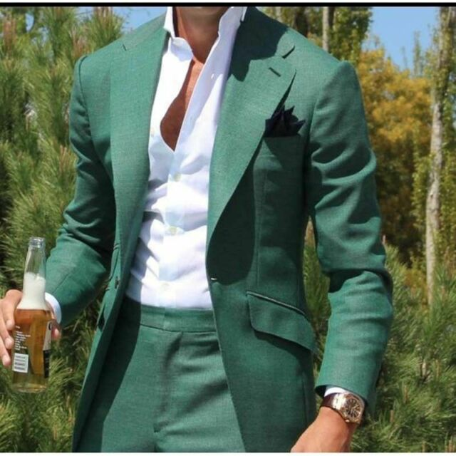 Green Men's Linen Suit Wedding groom suit Tuxedos Groomsmen Formal Blazer Suits