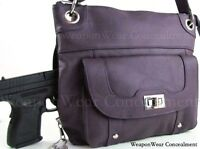 Concealment Purse Purple Leather Locking Concealed Carry Ccw Holster Gun 19