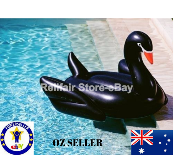 Giant Inflatable Black Swan Pool Float-Summer Ride-on pool toy for pool parties