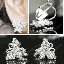 CLIP ON crystal PIXEL BUTTERFLY EARRINGS silver rhinestone SMALL STUDS CLIPS
