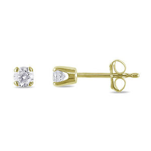Image Is Loading Round Diamond Tiny Stud Earrings 14k Yellow Gold
