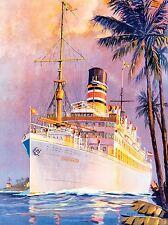 TRAVEL SHIP BOAT OCEAN LINER CITY HARBOUR USA CANADA COPY PRINT LV4447