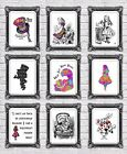 Alice in wonderland retro prints mad cheshire cat hatter late rabbit wall art A4