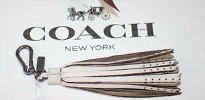 NWT-85-COACH-Chalk-100-Leather-TASSEL-Pewter-Stud-Logo-Bag-Charm-65834