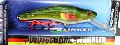 Profi Blinker Crank Runner Tieftauch Wobbler 11,5cm// 33 Gramm-bis 8m-Silber//Blau